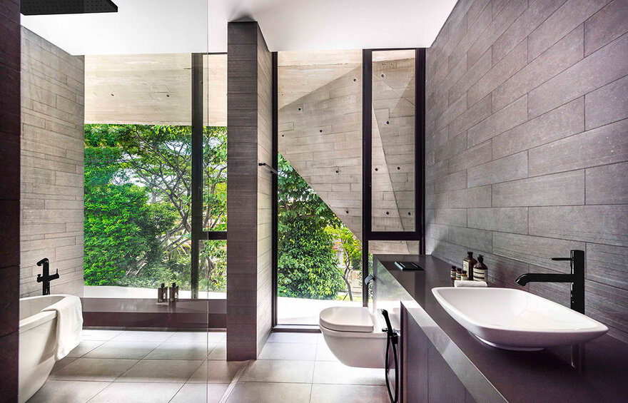 1569879310 4 a stylish glass and concrete house shielded by lush greenery - A Stylish Glass And Concrete House Shielded By Lush Greenery