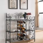 Metal Console Table Wine Rack Buffet Server