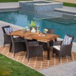 7-Piece Acacia Wood and Wicker Dining Set