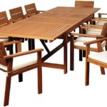 Extendable Eucalyptus 11 Piece Patio Dining Set