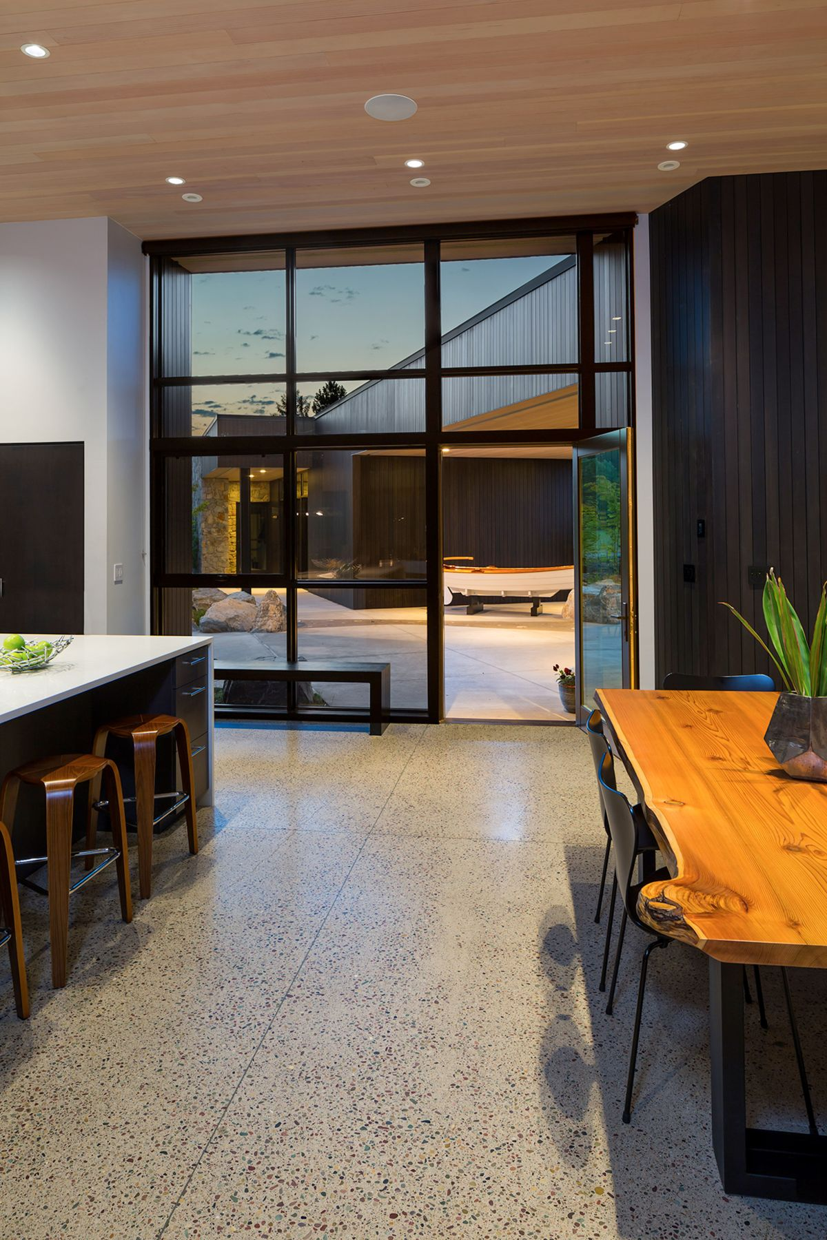 The central courtyard acts as an extension of the living areas outdoors