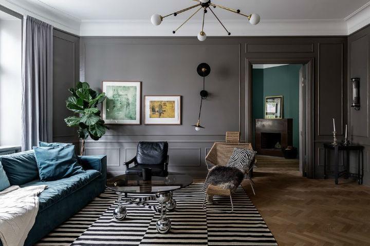 Scandinavian living room decor with grey walls 2
