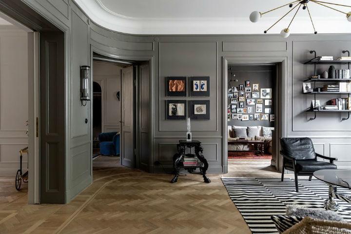 Scandinavian living room decor with grey walls 3