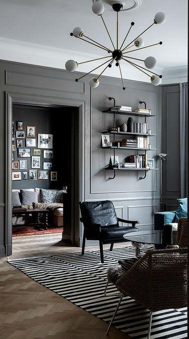 Scandinavian living room decor with grey walls 5