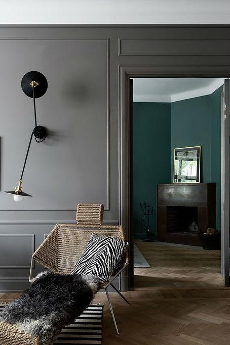 Scandinavian living room decor with grey walls 4
