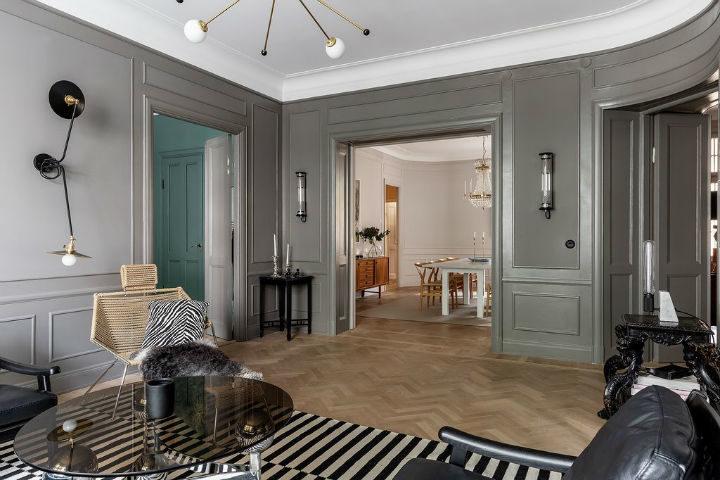Scandinavian home decor with grey walls