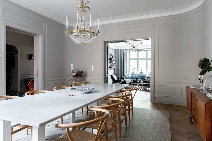 Scandinavian dining room decor with light grey walls 2
