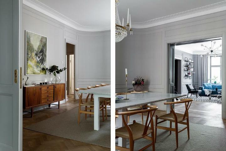Scandinavian dining room decor with light grey walls 3