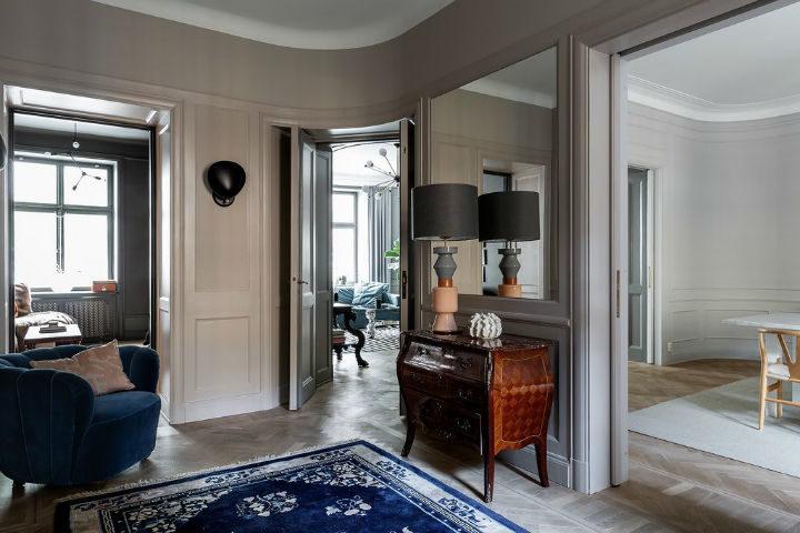 Scandinavian home decor with light grey walls
