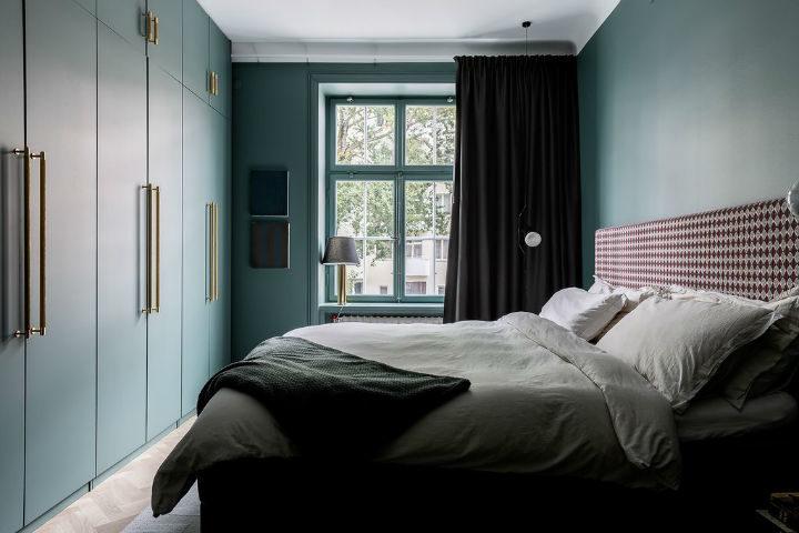 green Scandinavian bedroom design