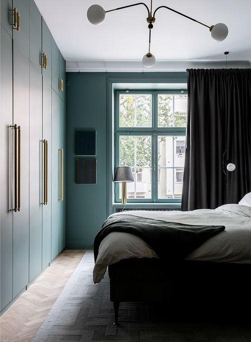 green Scandinavian bedroom design 2