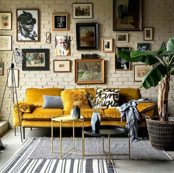 living room with mustard yellow sofa
