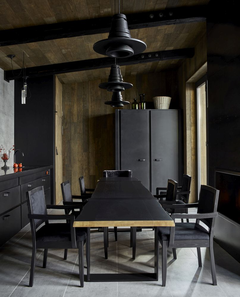 The two main materials used in this project are black-painted steel and artificially-aged wood