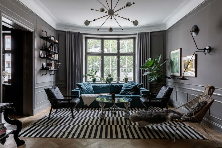 A Scandinavian Home With Grey Walls In, How To Decorate Living Room With Gray Walls