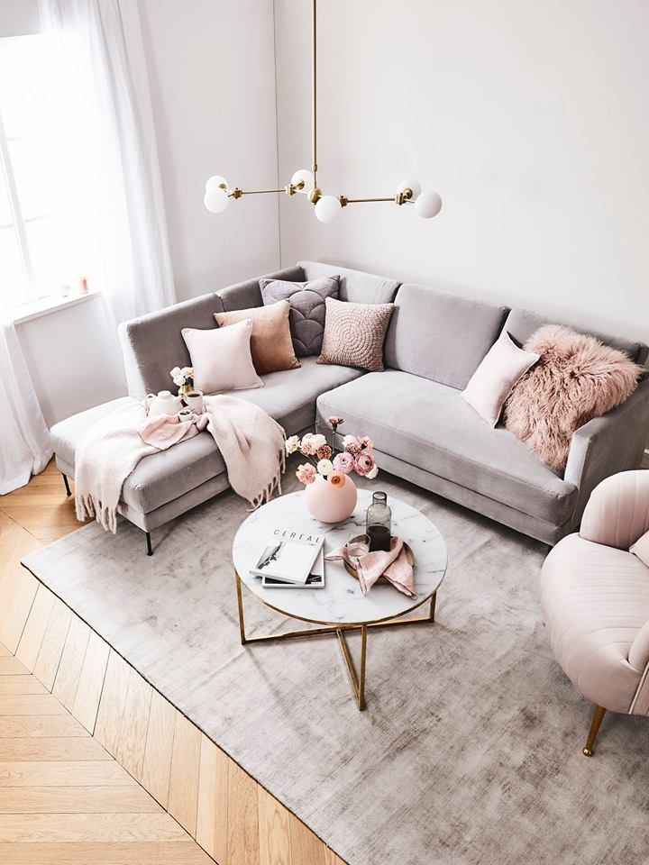 gray living room with blush pink touches - How To Decorate A Grey and Blush Pink Living Room