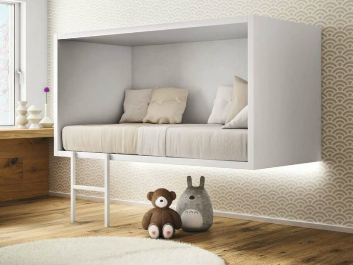 kids modern floating bed with white frame