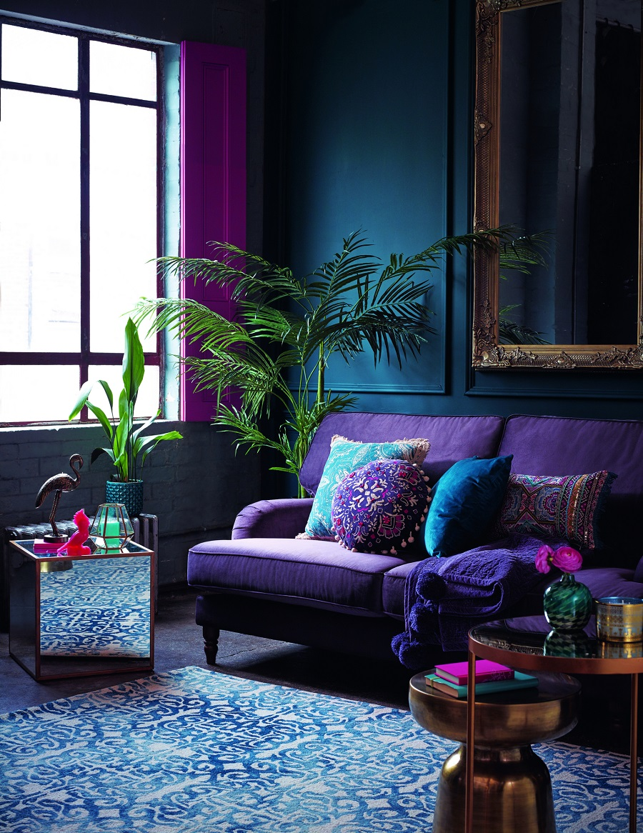 living room with bold color sofa - Decorating With Color: Statement Bold Color Sofa
