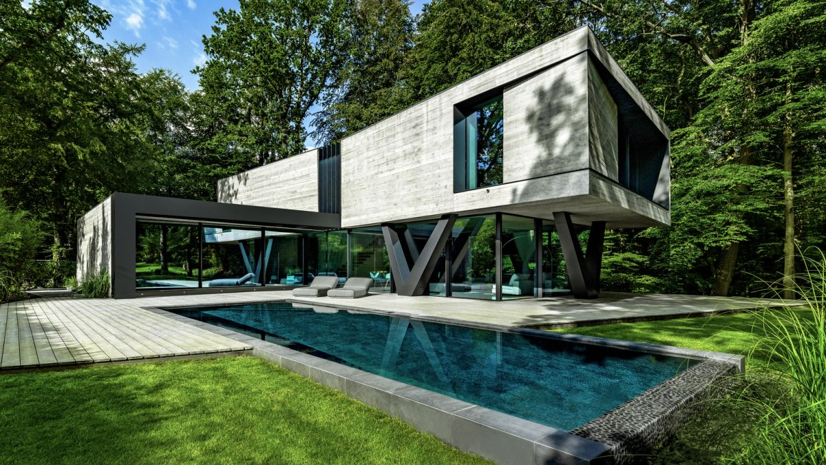 modern house resembles an abstract sculpture in the midst of the forest - Modern House Resembles An Abstract Sculpture In The Midst Of The Forest