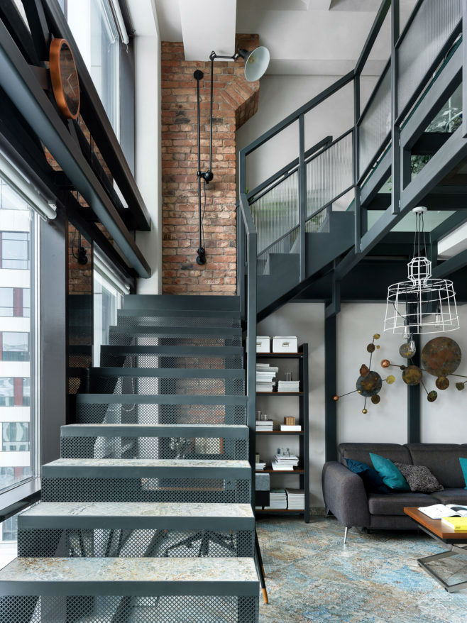 metal loft stairs with tiles