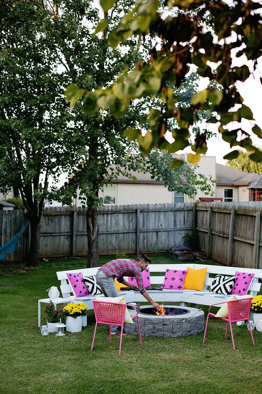 Create a cool and space savvy fire pit with custom seating around it for a great fun filled evening 44812 - Staying Safe and Indoors: Decorating Tips for a Perfect Summer Staycation!