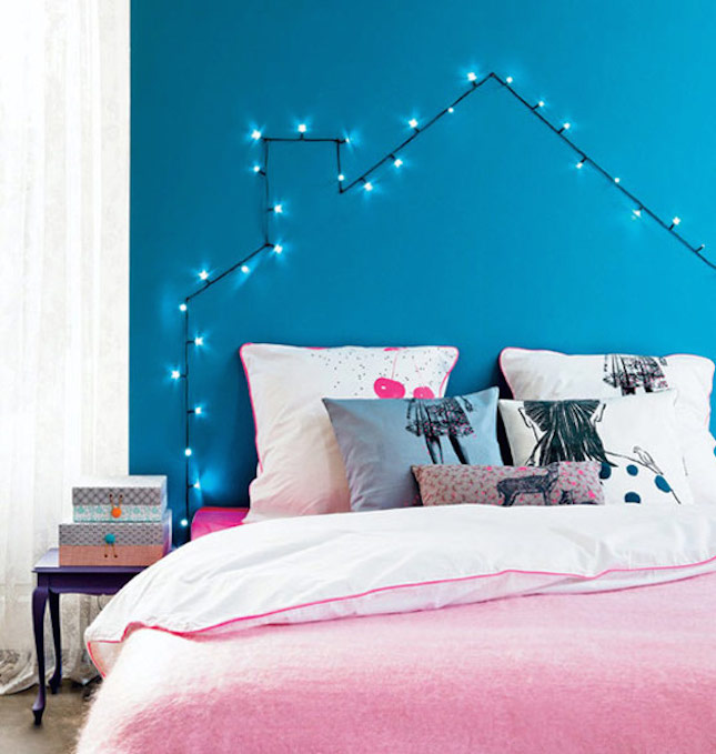 headboard lights - How You Can Use String Lights To Make Your Bedroom Look Dreamy