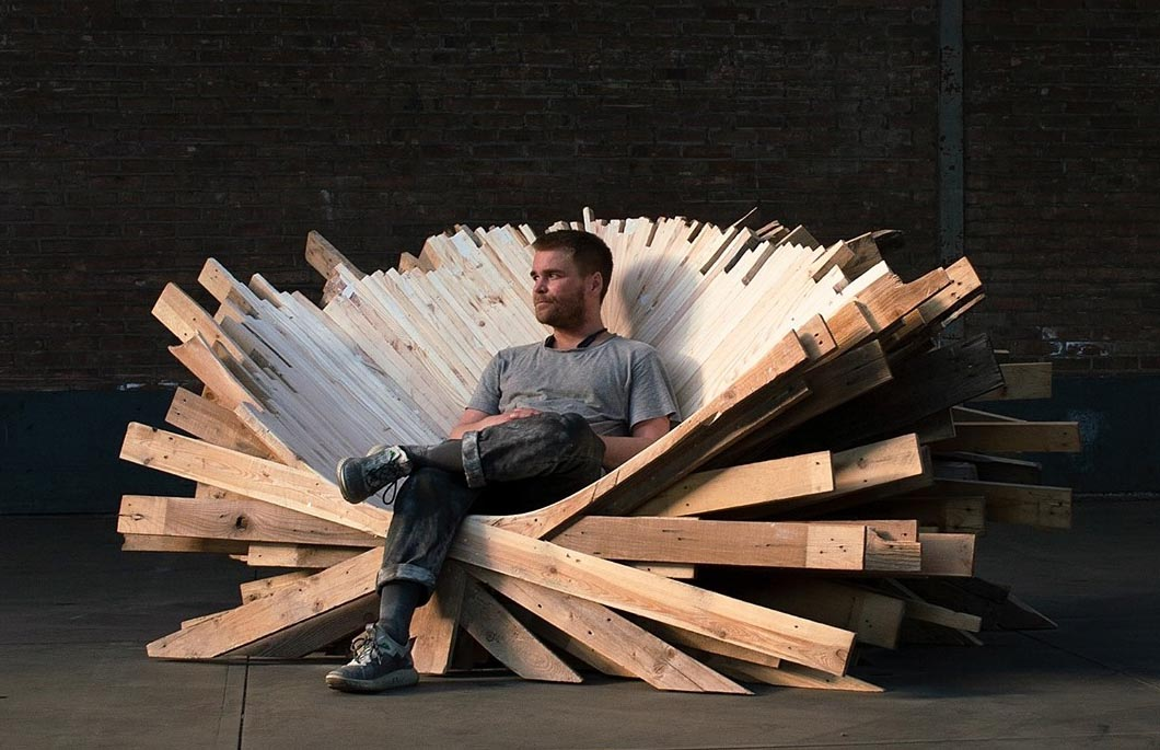 This Oversized And Sculptural Wood Throne Was Made From Recycled Pallets